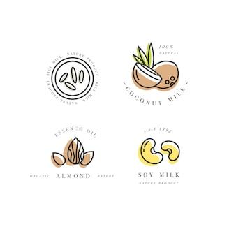 Conjunto de logotipos em estilo linear - amêndoa, coco, arroz e leite de soja