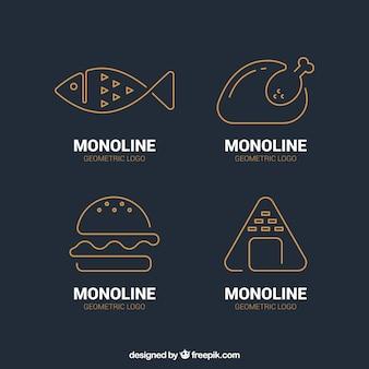 Conjunto de logotipos em estilo linear