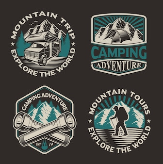 Conjunto de logotipos em preto e branco para o tema de acampamento no fundo escuro. perfeito para pôsteres, roupas, camisetas e muitos outros. em camadas