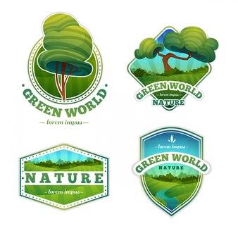 Conjunto de logotipos, emblemas com natureza, paisagem, árvores. estilo dos desenhos animados.