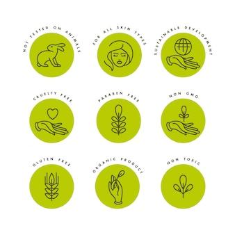 Conjunto de logotipos, emblemas e ícones para produtos naturais e orgânicos. eco design de sinal seguro. símbolo de coleção de produtos saudáveis.