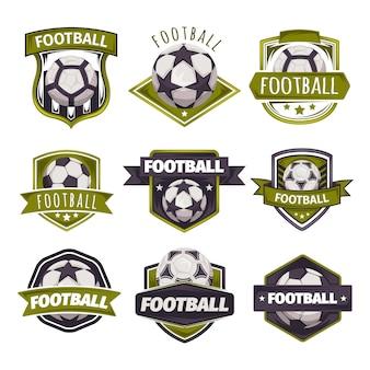 Conjunto de logotipos, emblemas sobre o tema do futebol, futebol