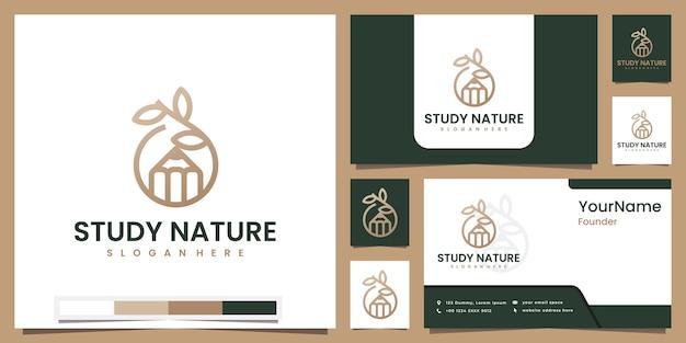 Conjunto de logotipos estudam a natureza com design de conceito de arte de linha