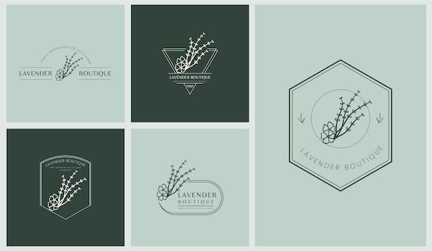 Conjunto de logotipos femininos com folhas e flores em estilo linear mínimo simples