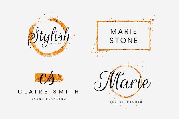 Conjunto de logotipos femininos com pincelada dourada