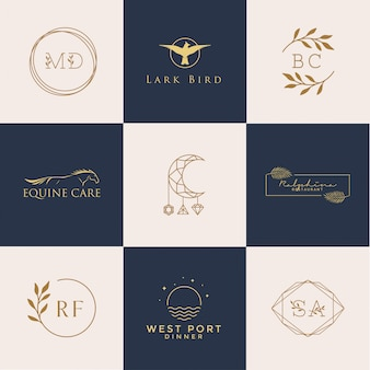 Conjunto de logotipos femininos