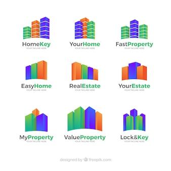 Conjunto de logotipos imobiliário colorido