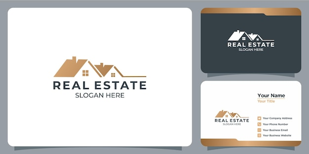 Conjunto de logotipos imobiliários minimalistas com branding de cartão de visita