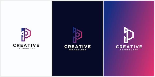 Conjunto de logotipos inicial p monograma espaço negativo letras criativas e minimalistas, p logo design de ícone editável em formato
