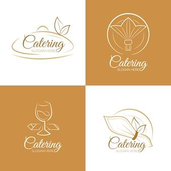 Conjunto de logotipos lineares de catering plano