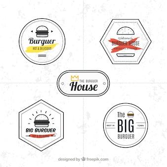 Conjunto de logotipos minimalistas com hambúrgueres