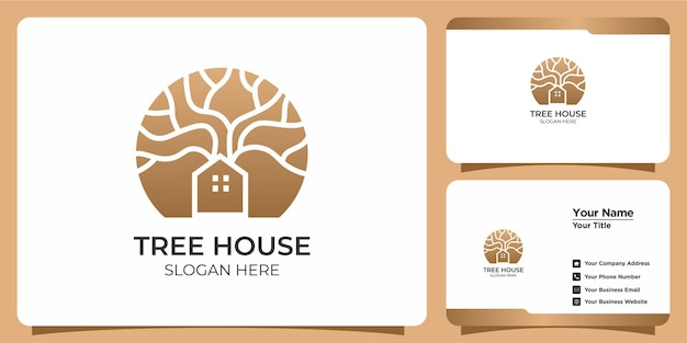 Conjunto de logotipos minimalistas de casas na árvore e cartões de visita