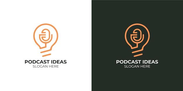 Conjunto de logotipos minimalistas de ideias de podcast