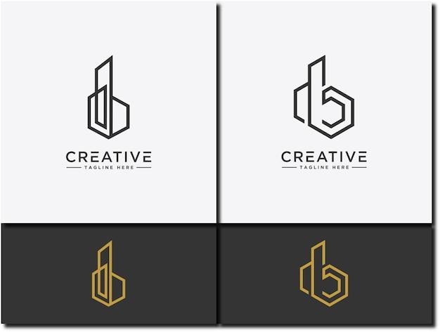 Conjunto de logotipos modelo de letra db um símbolo de imóveis ou construção de casas