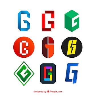 Conjunto de logotipos modernos da letra