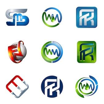 Conjunto de logotipos modernos e elegantes de negócios