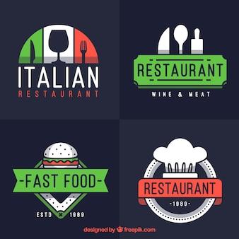 Conjunto de logotipos modernos para o restaurante italiano