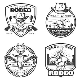 Conjunto de logotipos monocromáticos de rodeio vintage
