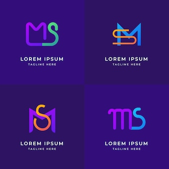 Conjunto de logotipos ms de design plano