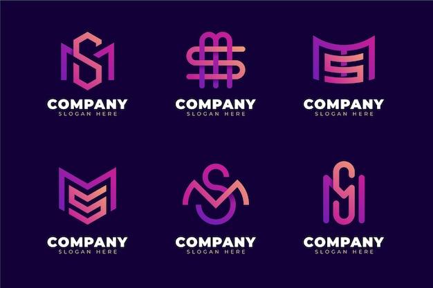 Conjunto de logotipos ms em gradiente