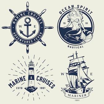 Conjunto de logotipos náuticos monocromático vintage