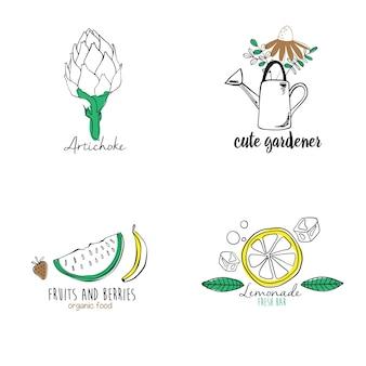 Conjunto de logotipos orgânicos de mão desenhada