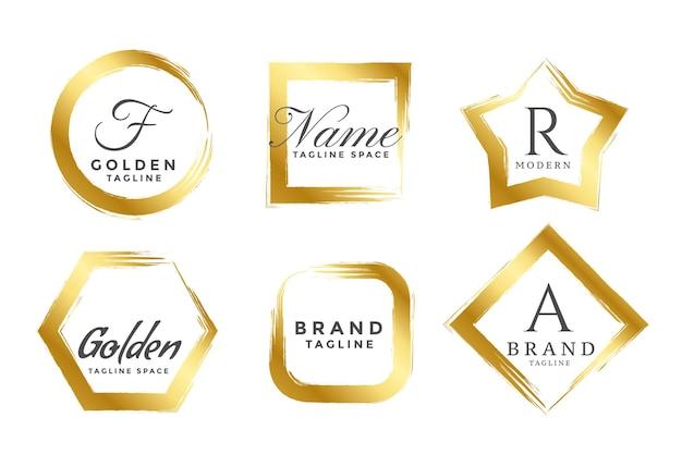 Conjunto de logotipos ou monogramas abstratos com moldura dourada