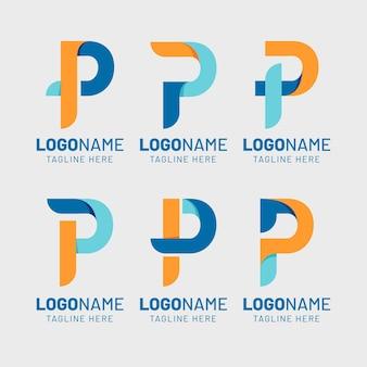 Conjunto de logotipos p coloridos com design plano