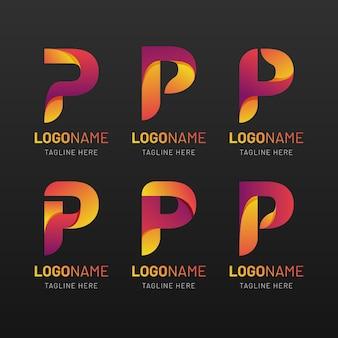 Conjunto de logotipos p coloridos gradientes