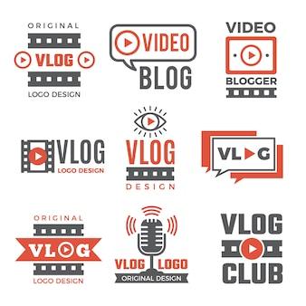 Conjunto de logotipos para blogueiros de vídeo