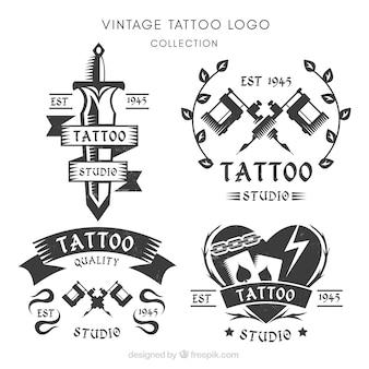 Conjunto de logotipos para estúdios de tatuagem