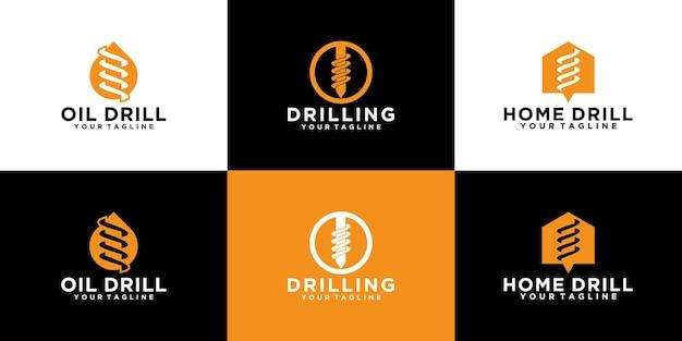 Conjunto de logotipos para ferramentas, brocas, perfuração