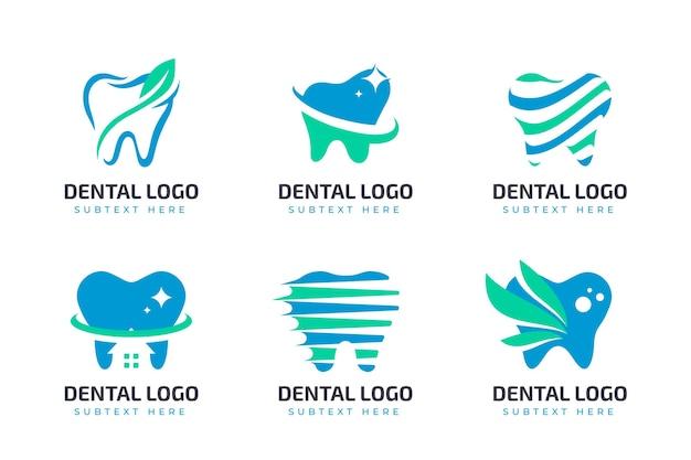 Conjunto de logotipos planos odontológicos