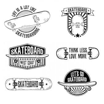 Conjunto de logotipos preto e branco vintage, emblemas, distintivos, etiquetas, adesivos com skate