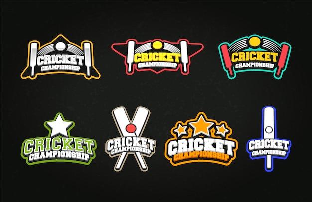 Conjunto de logotipos profissionais modernos para esporte de críquete