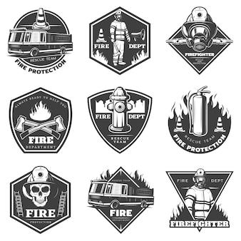 Conjunto de logotipos profissionais monocromáticos de combate a incêndios