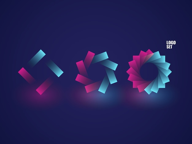 Conjunto de logotipos quadrados, círculo logotipo ilustração isométrica neon ultravioleta escuro