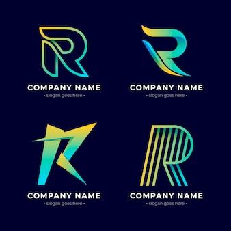Conjunto de logotipos r gradiente colorido