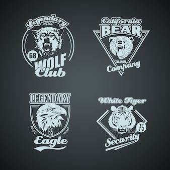 Conjunto de logotipos retro de animais selvagens do vintage.