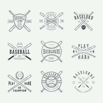 Conjunto de logotipos vintage de beisebol