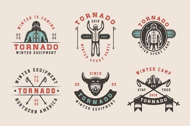 Conjunto de logotipos vintage de esqui para snowboard ou esportes de inverno com emblemas e elementos de design