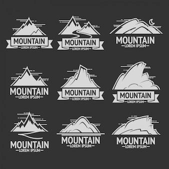 Conjunto de logotipos vintage de exploração de montanha