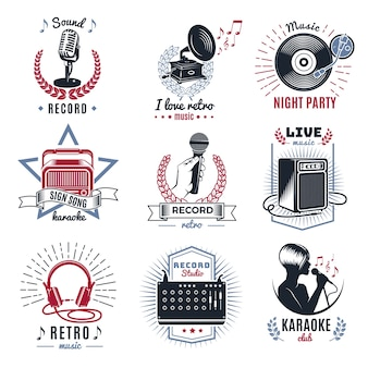 Conjunto de logotipos vintage de karaokê