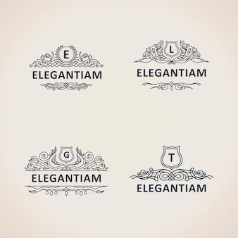 Conjunto de logotipos vintage de luxo caligráfico