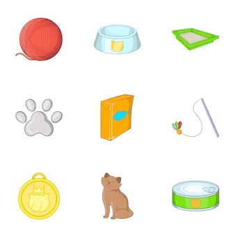 Conjunto de loja de animais de estimação, estilo cartoon