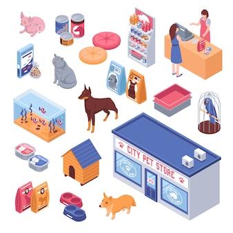 Conjunto de loja de animais isométrico