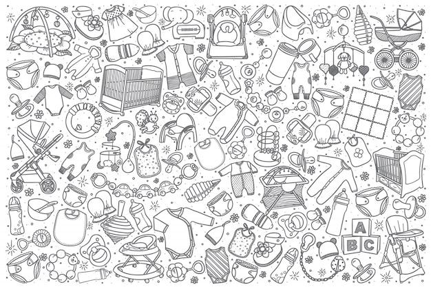 Conjunto de loja de bebê mão desenhada