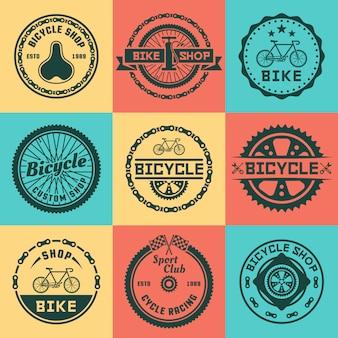 Conjunto de loja de bicicleta de vetor colorido redondo logotipo, distintivos, emblemas