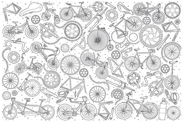 Conjunto de loja de bicicletas de mão desenhada