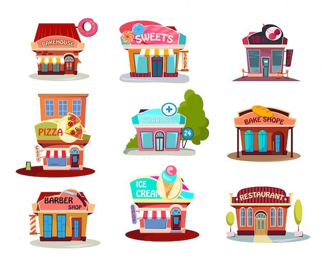 Conjunto de loja de desenhos animados